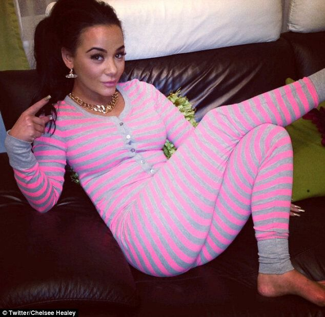 Chelsee Healey poses in her latest onesie and shares the photo on Twitter