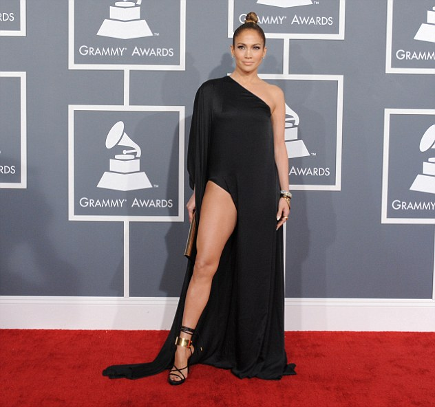 Lovely leg: Jennifer Lopez showed off her leg at the Grammy Awards on Sunday in Los Angeles, California