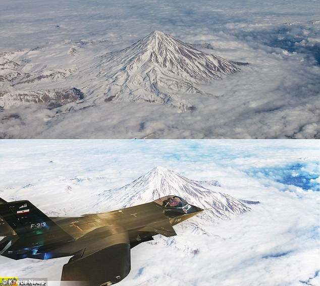 Superimposed: Eagle-eyed observers claim the Iranian jet was superimposed upon a generic picture of Mount Damavand