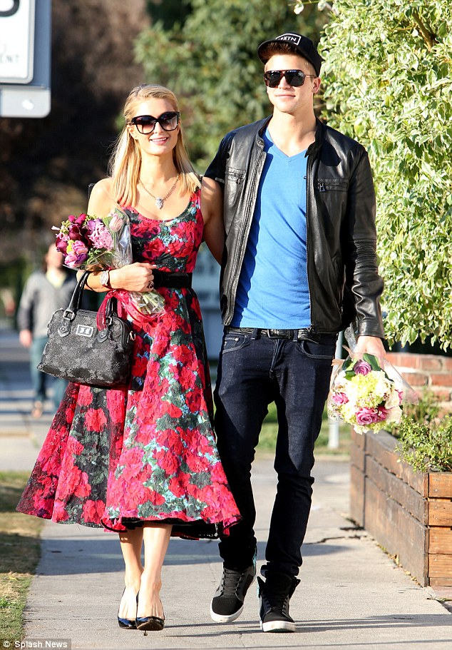 Paris Hilton Wears Rose Print Prom Dress As Boyfriend