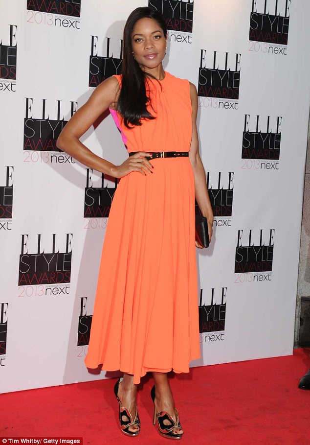 Red carpet: Naomie Harris wore an Roksanda Ilincic gown that harmonised peachy orange and creamy pink a the Elle Style Awards