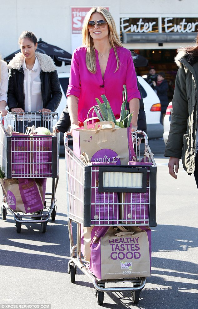 Whole foods: Even Heidi's bags fitted in with her colour clashing outfit