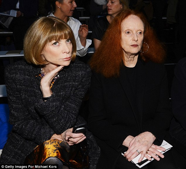 Fashion royalty: Vogue's Anna Wintour and Grace Coddington also sat front row