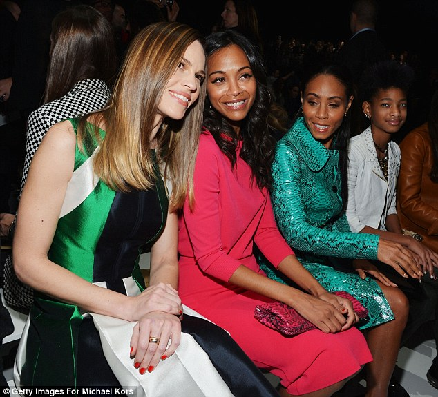 Pals: The four women smiled as they posed for pictures