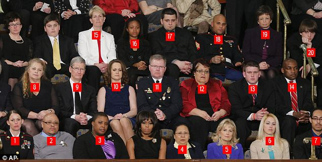 Honored guests: The first three rows near the First Lady were chocked-full of individuals who represent various parts of the President's policy initiatives