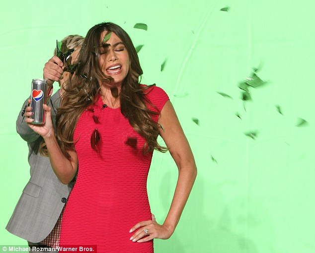 Pow! Ellen even 'broke' a bottle over Sofia's head