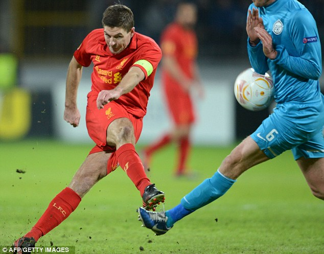 Captain: Steven Gerrard led a strong Liverpool side in Russia