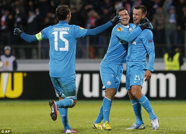 Cruising: Sergei Semak (right) doubled Zenit's lead within minutes of Hulk's goal