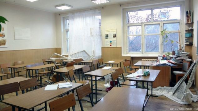 Hurt: A school in Chelyabinsk took a fair brunt of the explosion - four students were injured