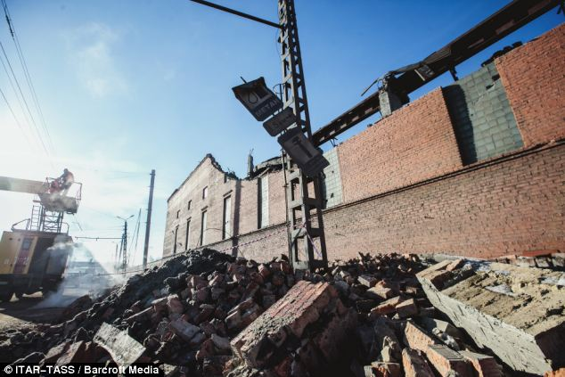 Destroyed: The building of the local zinc plant badly damaged by a shockwave from a meteorite impact