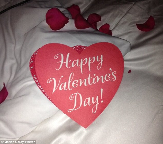 A romantic end to the night: Mariah later shared a picture of her bed covered in rose petals and a heart