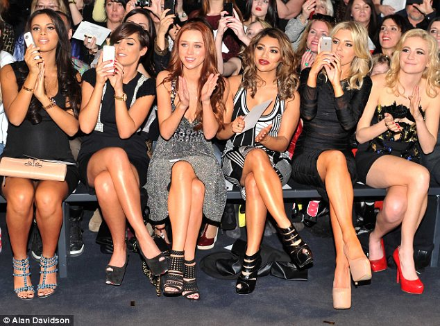 Fashion goes pop! The Saturdays were seen seated next to Pixie Lott at the Julien MacDonald fashion show on Saturday