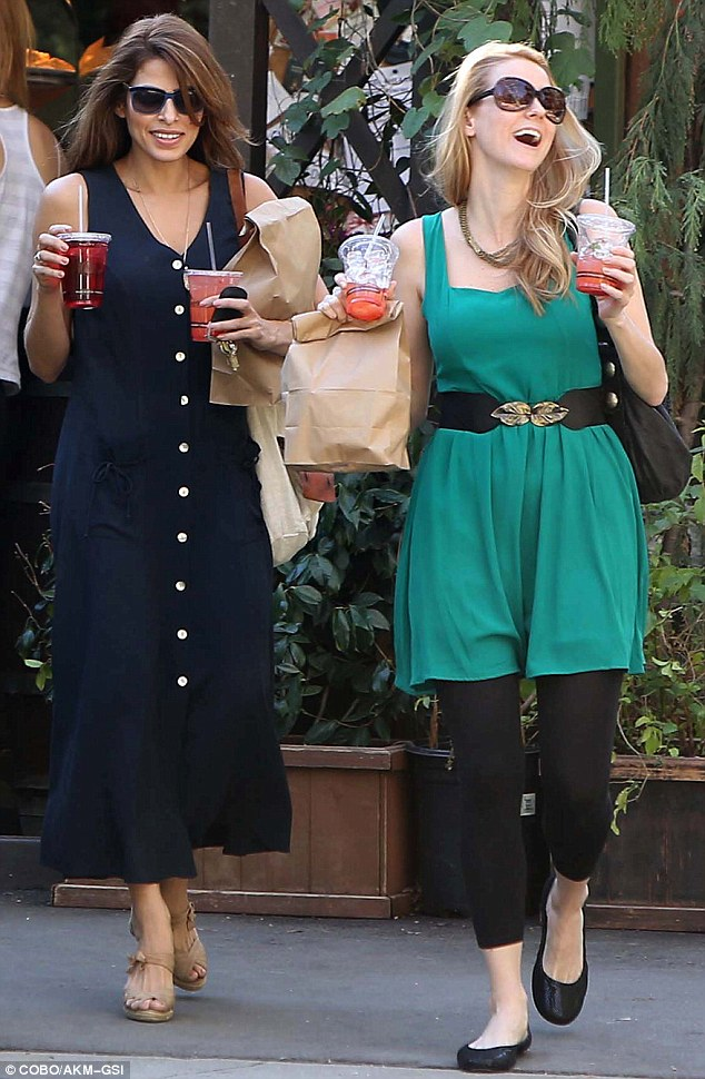 Effortless chic: Eva Mendes, 38, grabbed a bite with a friend at The Trails Restaurant in Griffith Park, Los Angeles on Saturday