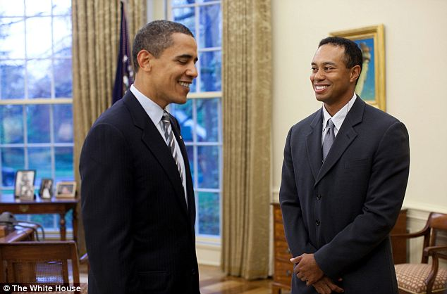 Mutual Appreciation Society: President Obama with Tiger Woods to the White House in 2009 (pictured) - And now after their foursome round in Florida on Sunday Woods had praise for the president