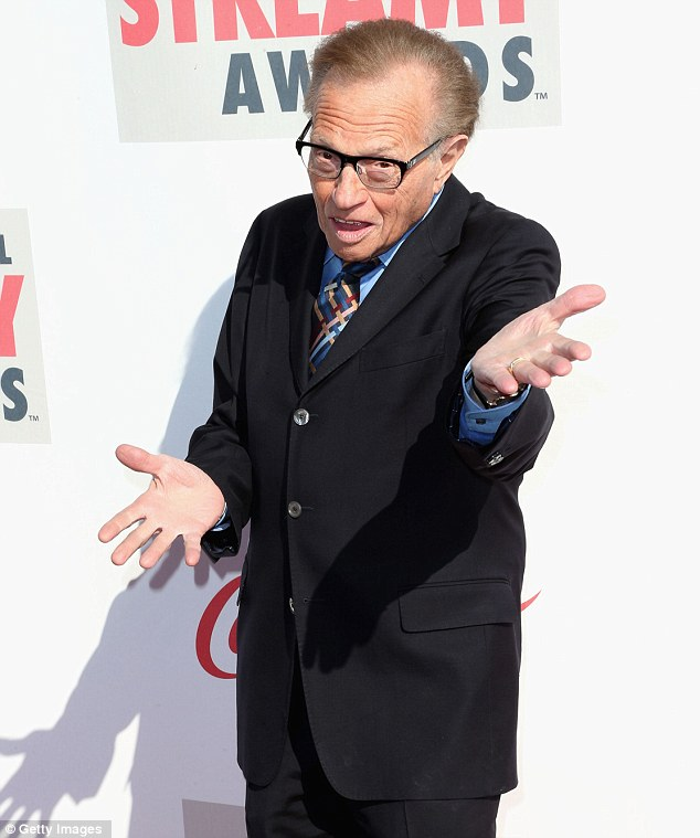 Classic pose: Talk show veteran Larry King hammed it up for photographers at the event