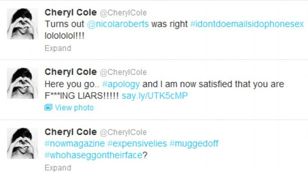 Chuffed: Cheryl seemed pleased with the apology from the magazine and took to Twitter on Tuesday to express her delight