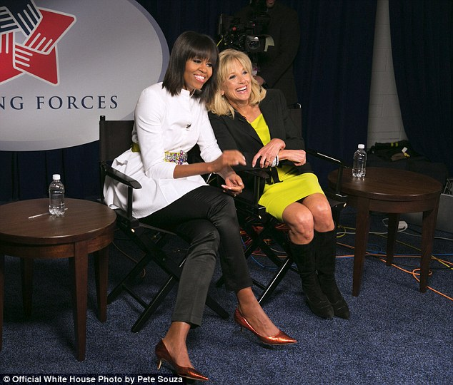 Ready for questions: First Lady Michelle Obama and Dr Jill Biden participate in an interview prior to the Kids Inaugural Concert at the Walter E Washington Convention Center ion January 19