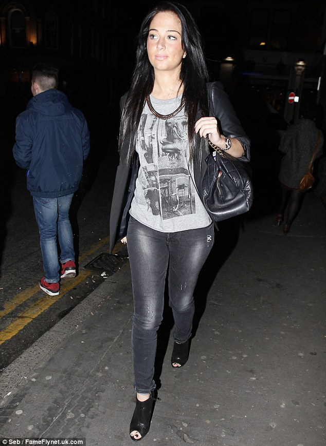 Missing: Tulisa was without her boyfriend Danny Simpson, with who she recently got a tattoo