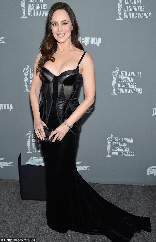 Racy: Madeline Stowe went for a racy look in her black leather and velvet corseted gown