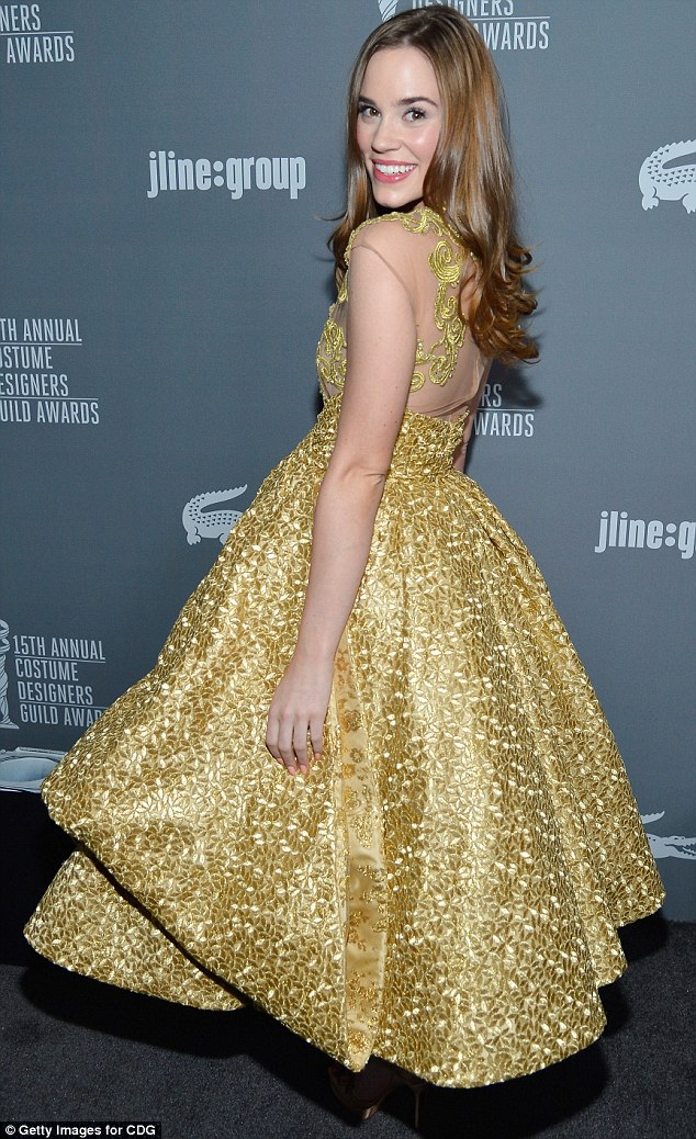 Costume-style: The Revenge actress's attire was made out of beautiful gold Japanese printed fabric