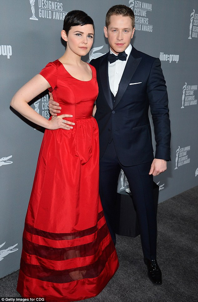 Date night: Ginnifer brought along her boyfriend and Once Upon A Time co-star Josh Dallas as her date