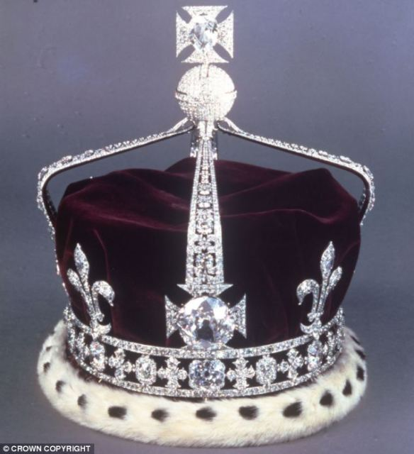 The Crown of Queen Elizabeth the Queen Mother, with the Koh-i-noor diamond, sits in the Tower of London with the Crown Jewels