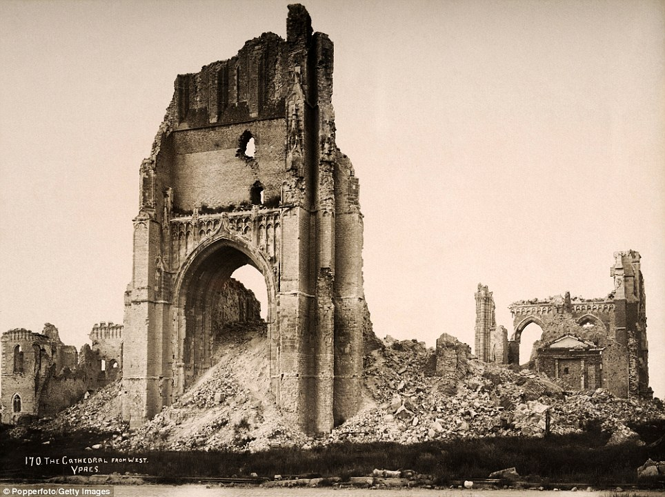 Doomsday: St Martin's cathedral at Ypres, which was rebuilt using the original plans after the war. At 102 metres (335 ft), it is among the tallest buildings in Belgium