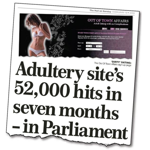 Shamed: The Mail On Sunday's exclusive report revealed that Out Of Town Affairs, a website that brings together married men and women seeking sex, was clicked on 52,375 times in seven months on Parliament computers