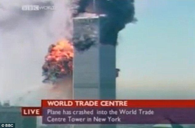 Flashback: This is a grab from BBC World's breaking news coverage of the September 11 attacks in 2001