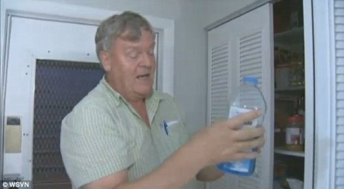 Weapon: Grabbing a bottle of blue window cleaner Mr Baillargeon said he sprayed the chemical, pictured, in the burglar's eyes and blocked his swing of a crowbar