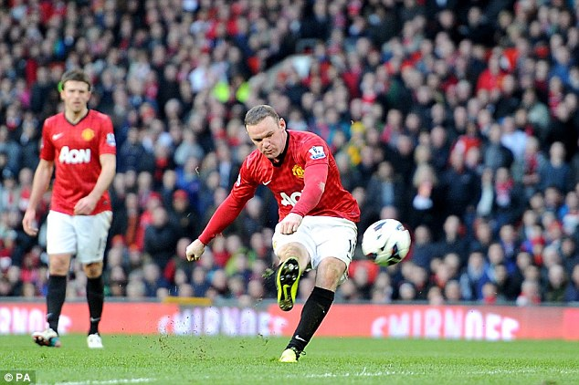 Brutal: Wayne Rooney rifled home his side's fourth of the match