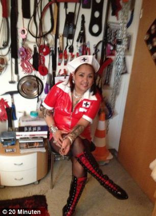 Pictures posted on her Facebook page include images of her dressed in a rubber nurse uniform in front of whips and chains and one of her standing in front of an ambulance