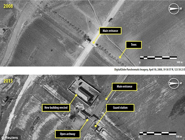 A satellite image shows what Amnesty International believes is the construction of an entrance gate in North Korea's Ch'oma-Bong valley