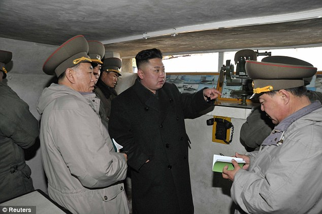 Border: According to state media reports Kim Jong-Un visited the Janjae Islet Defence Detachment on the front, near the border with South Korea yesterday