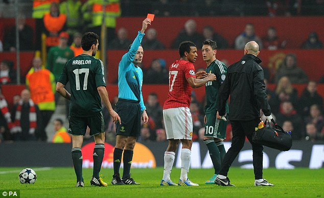 Seeing red: Giggs is still getting over the shock of Nani's dismissal, a decision which the veteran greeted with dismay last Tuesday