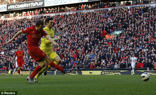 Howler: Stewart Downing took advantage of Hugo Lloris' blunder to fire home an eqauliser for Liverpool