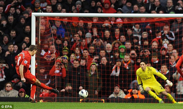 Thriller: Steven Gerrard scored a late penalty as Liverpool won a dramatic match 3-2 at Anfield