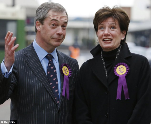 Attack: Miss Rutland went all out against UKIP's Diane James, pictured on the Eastleigh by-election campaign trail with party leader Nigel Farage, branding her 'disgusting' and accused UKIP of 'scaremongering'