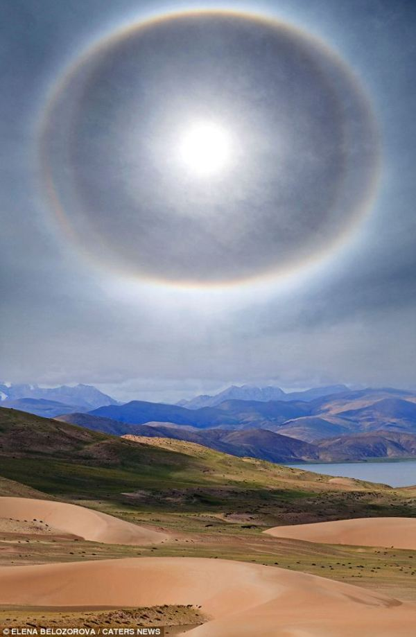 Heavenly! Incredible pictures show the desert Sun ringed ...