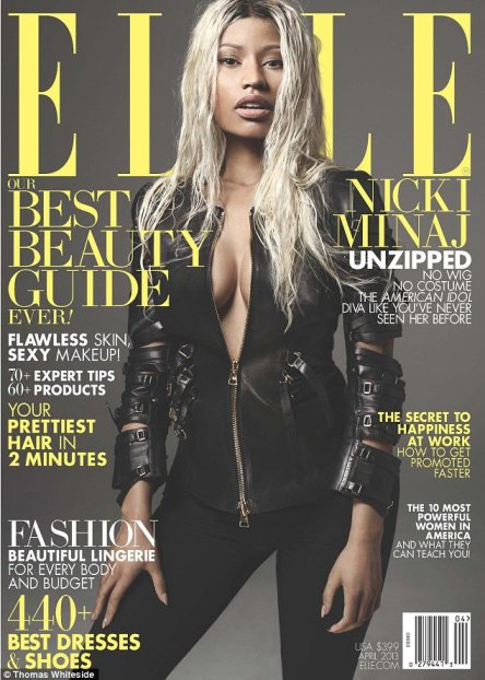 Makeunder: Nicki Minaj shows off her natural beauty as she ditches the stage make-up and shows some skin in the new issue of Elle Magazine