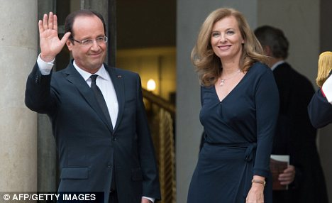 Controversy: In a criminal case which places a question mark against the decision of President Francois Hollande (left) to have a live-in-lover, Miss Trierweiler (right) is described as nothing more than a 'mistress'