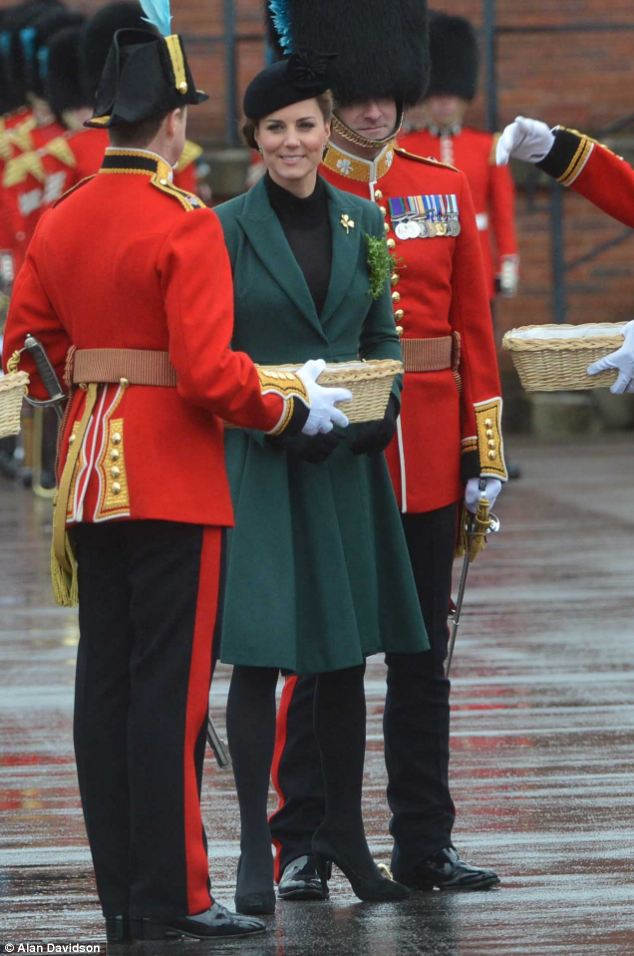 The Duchess of Cambridge dressed appropriately in green for the St Patrick's Day Parade in Aldershot