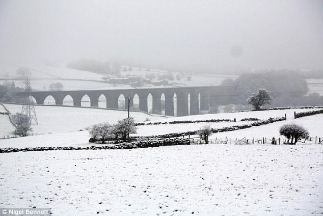 Fog: Wintry scenes in Bradford west Yorkshire as the snow make a return