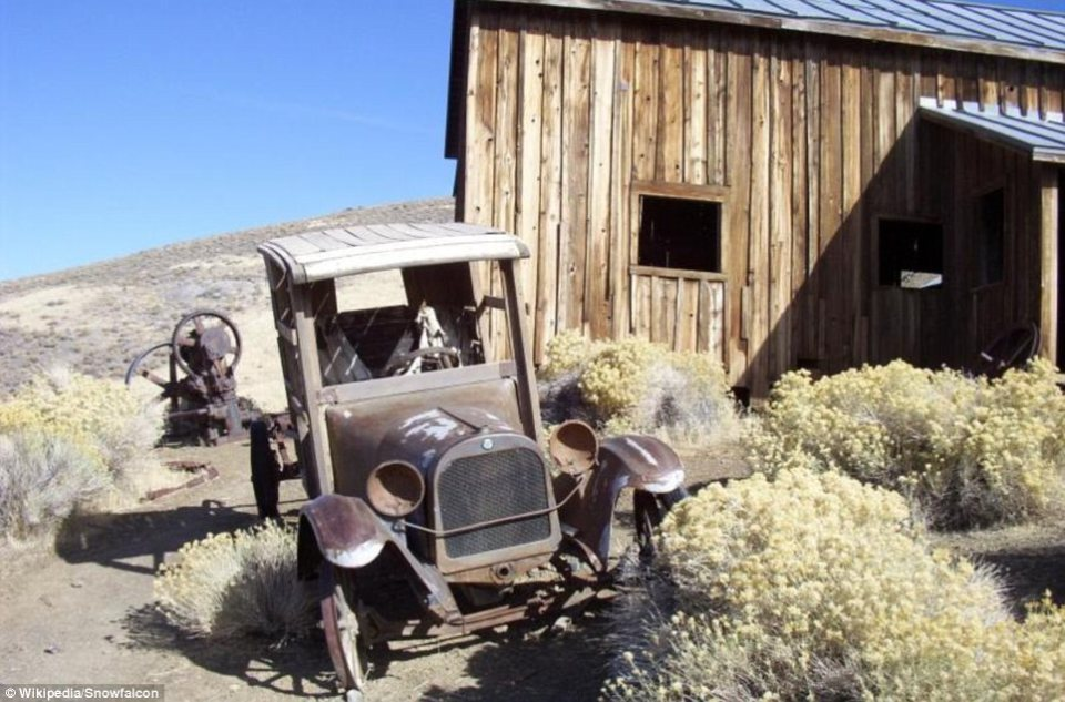 Still standing in the deserted desert town of Berlin, Nevada are the skeletal remains of an early 20th-century car
