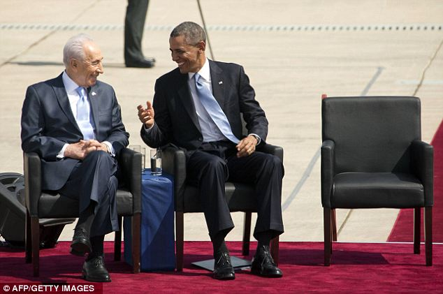 Reassurances: President Shimon Peres said in an interview shortly before Obama's arrival that he feels more confident now that the U.S. will support Israel against Iran if the ever developed a nuclear weapon