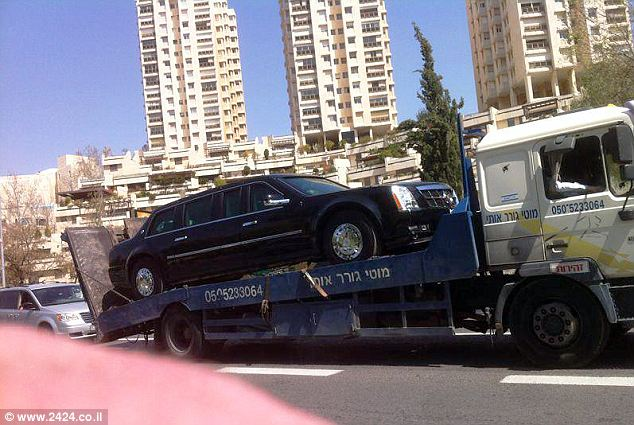 The downed 'Beast': President Obama's armored limo broke down in Tel Aviv this morning as it was headed to the airport after the driver mistakenly put gas in the tank instead of diesel
