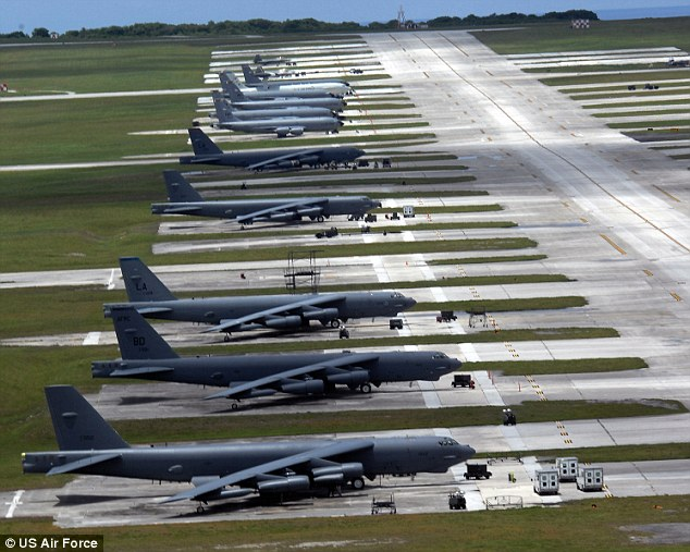 Andersen Air Force Base, Guam: North Korea is objecting to the flights of B-52's (pictured) over the Korean peninsula - threatening massive retaliation