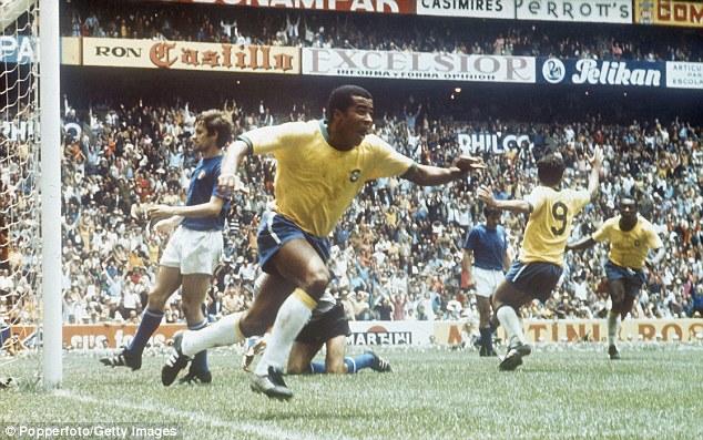 Image result for brazil italy 1970 jairzinho goal