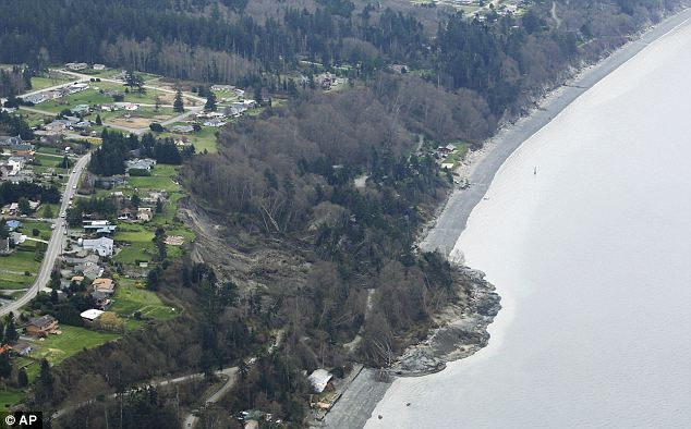 Damage: The landslide that damaged 17 homes visibly disrupted the shoreline on Whidbey Island in Washington