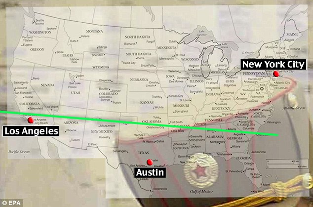 Trajectory: By superimposing a map of the U.S. onto the photograph of the North Korean strike plan researchers at the University of Alabama were able to chart its path